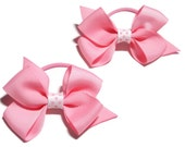Pony Tail Bows - Girls Ponytail - Pigtail Bows - Polka Dot Bows -Pony Tail Holder - Hair Bows - Pink Hair Bows - Polka Dots - Girls Bows