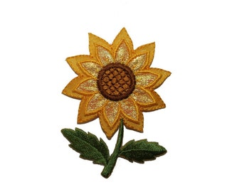 ID #6054 Shiny Yellow Sunflower Flower Garden Iron On Embroidered Patch Applique