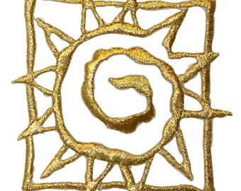 ID #8734 Gold Spiral Sunny Sun Outline Badge Embroidered Iron On Applique Patch