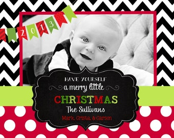 Chevron Christmas  Cards- chalkboard-chevron
