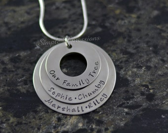 Personalized Family Necklace - Stainless Steel Washer Necklace