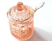 Indiana Glass Windsor Royal Brighton Button and Cane Peach Pressed Pattern Glass Jam Jar 1970s Glassware