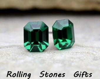 8x6.5mm  Emerald Swarovski Octagon Rhinestone Stud Earrings-Emerald Crystal Studs-May Birthstone Crystal Studs-Green Post Earrings