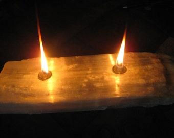 white Selenite crystal Log candle