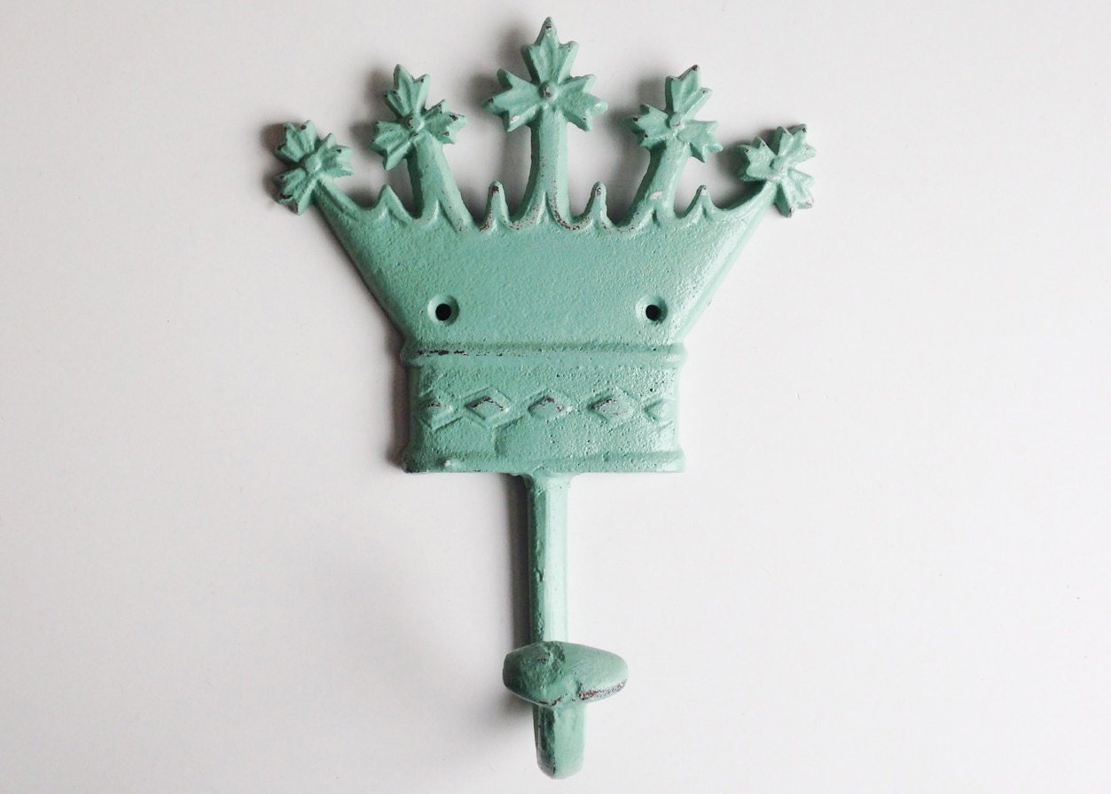 Crown key hook childrens coat hook jade nursery by juxtapositionsc - Kids decorative wall hooks ...