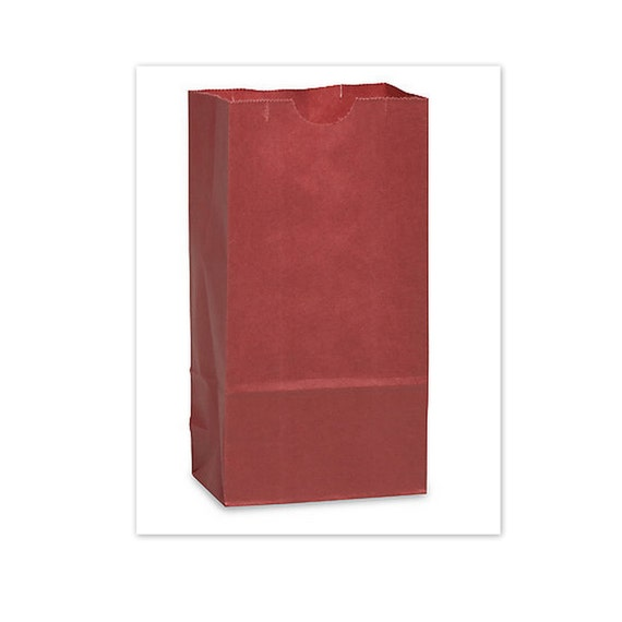 Bags Red Paper Lunch  Large Size    6 x 4 x 11 inches Set of 10