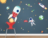 Space Adventures Printed Wall Decal Large Set -Repositionable Wall Decal, Space Decal, Rocket Decal, Kids Space Decor, Solar System Decal