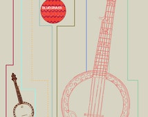 11X14 Banjo Print with Technical Illustration