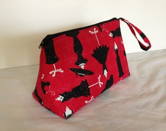Quilted Makeup Bag Cosmetic Bag Red and Black Accessories Ready to Ship Toiletry Bag