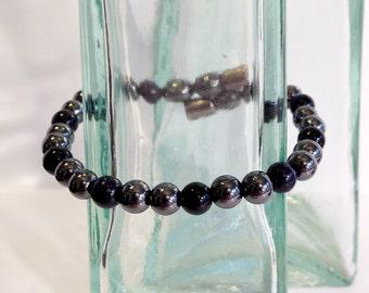 Magnetic hematite bracelet - night sky color design - custom sized