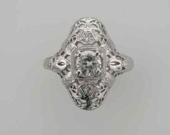 18 Karat White Gold Diamond Filigree Edwardian Ring