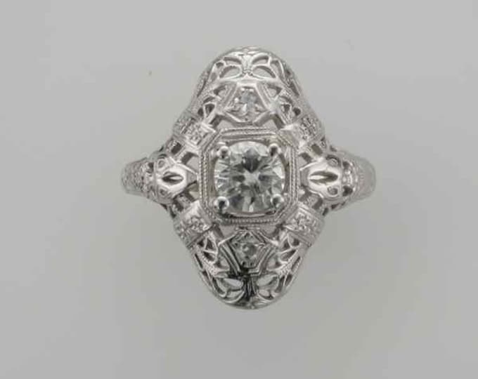 18 Karat White Gold Diamond Filigree Edwardian Ring