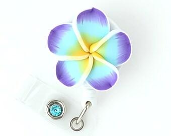 Maui Ocean Plumeria - Retractable Badge Reel - Flower Badge Holders - Designer ID Reel - Nurse Gifts - Pretty Name Badge Clips - BadgeBlooms