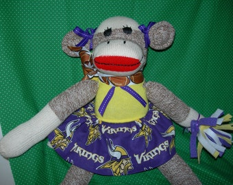 Minnesota Vikings Football Brown Red Heel Sock Monkey Girl Doll/Cheerleader