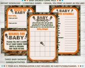 Camo Baby Shower Games - Wishes for Baby Bingo Word Scramble Orange Boy Camouflage Hunting - Instant Download 3 Game Pack