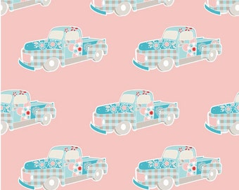 Twice as Nice by The Quilted Fish Riley Blake Fabric - Pink Truck  - Fat Quarter Cut - Cotton Fabric