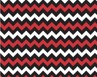 Small Chevron Red/Black by Riley Blake Designs - Fat Quarter Cut - Chevron Fabric