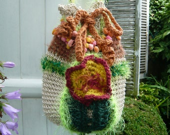 handmade crochet faery fall  big multicoloured tote,bag,with a big flower and a big leaf made with a lot of fibers,OOAK by LAMAMADESMATOUS
