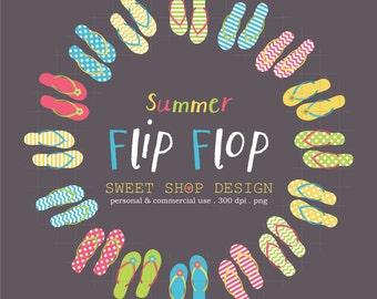 Summer Clip Art, Flip Flop Clip Art, Royalty Free Clip Art, Instant Download, Red, Yellow, Blue, Green