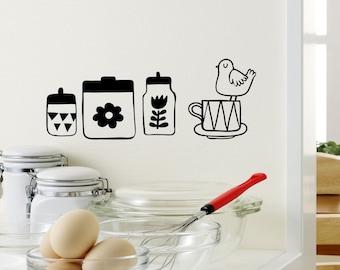 Retro Bird Perched on a Teacup Kitchen Set- Wall Vinyl Decal Home Decor