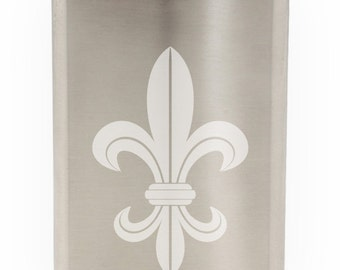 French Heraldic Lily: Fleur De Lis Etched 8oz Flask With Funnel