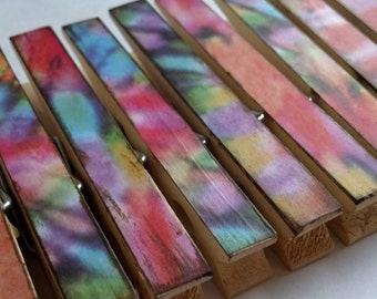 Tie dyed decoupage clothespins decorative rainbow theme set of 10