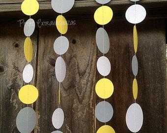 Yellow and Gray Paper Circle Garland