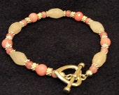 """8"""" Rose Quartz and Morganite Bracelet with silver plated heart toggle clasp"""