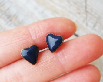 Heart Stud Earrings, Gift for her, Navy Blue Earrings, Heart jewelry, Heart earrings