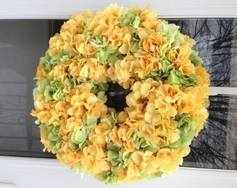 Bright Green & Yellow Hydrangea Blooms  wreath