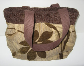 Handmade upholstery fabricshoulder bag, one of a kind tote with magnetic closure