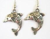 Dolphin Charm Earrings, Silver Tribal Dolphin Earrings, Personalized Birthstone Earrings, Ocean Earrings, Summer Jewelry, Harmony Earrings
