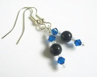 Third Eye Chakra Earrings, Silver, Lapis Lazuli Gemstone Earrings, Brow, Ajna, Capri Blue Swarovski Earrings, Dangle Earrings, Blue, Yoga