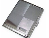 Cigarette Case Wallet - The Bertram. Medium Silver Pinstripe