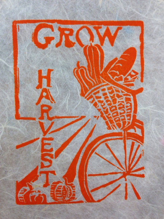 GROW Harvest bicycle linocut 5 x 7 card/print