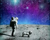 Astronaut walking his dog on the moon,poster,digital print,space,art,moon,stars,galaxy,dog,home decor