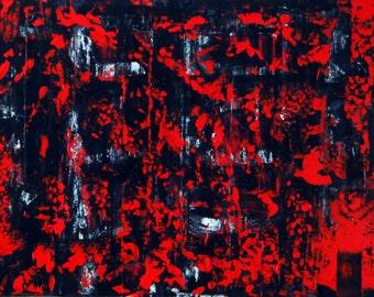 "Original Abstract Art Painting -""Blood Fire"""