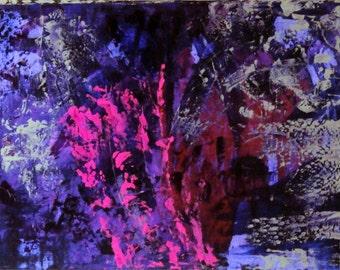 "Original Abstract Art Painting -""Purple Chaos"""