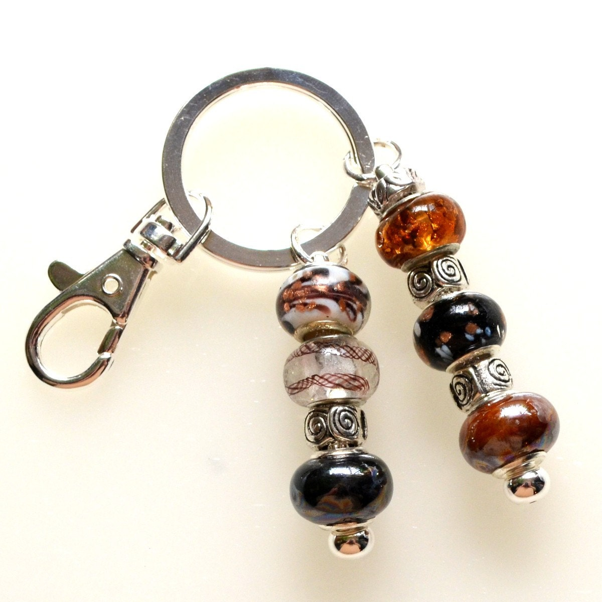 brown and black beaded key ring