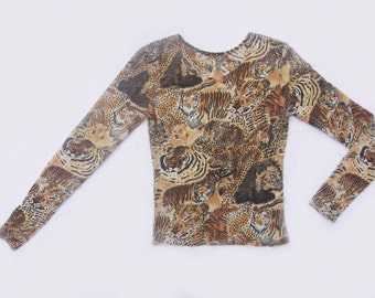 Vintage 90's Big Cats Print Knit Top
