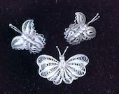 Taxco Sterling Butterfly Set  Lacey Sterling Butterfly Brooch & Earrings c1940