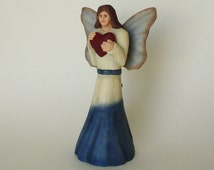 Folk Art Angel Woodcarving Hand Carved Wooden Angel She Signifies Love Making a Nice Gift Idea For Home Decor Wood Sculpture Cancer Angel