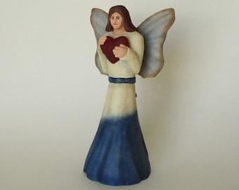 Folk Art Angel Woodcarving Hand Carved Wooden Angel Gift for Her Home Decor Wood Sculpture Cancer Angel