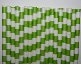 25 Lime Green Rugby Horizontal Striped Paper Straws- Watermelon Straw-Birthday Decorations, Cake Pops- Baby, Bridal Shower, Wedding Decor