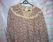 Vintage Liberty Print Long Lace Trim Nightgown Made In England