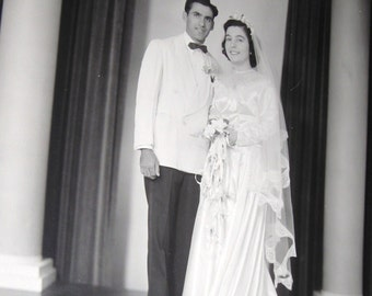 Vintage 1940's Studio Wedding Photo Couple .....The Bride Wore Satin and Orange Blossoms......Chaste and Modest Brides  Free Shipping