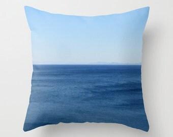 Aegean Sea pillow cover, teal, aqua, cobalt, water, summer, blue, sky, horizon, simple, minimal, breezy, crisp, Greek island, travel, Lesvos