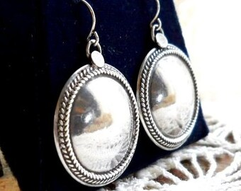 Vintage1970s Mid Century Danish Modern Sterling Large Silver 925 Round Dome Southwestern Earrings Art Deco Victorian Modernist