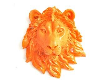 Faux Taxidermy Small Lion Head Wall Decor Wall Mount, Leonard the Lion in orange