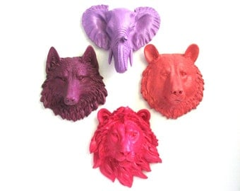 Set of 4: ANY COLOR Combination Choose from small bear wolf lion elephant OR zebra faux animal heads wall mount home decor office kids room